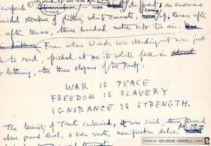 lema del Gran Hermano, de Orwell en novela 1984